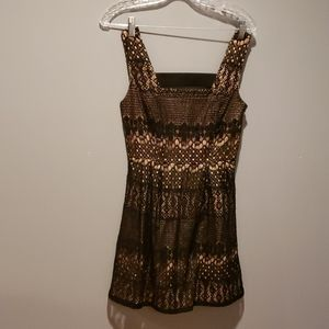 Black lace and brown underlay dress